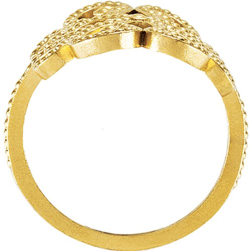 Womens 18k Yellow Gold Four Hearts Granulated Ring, Size 7
