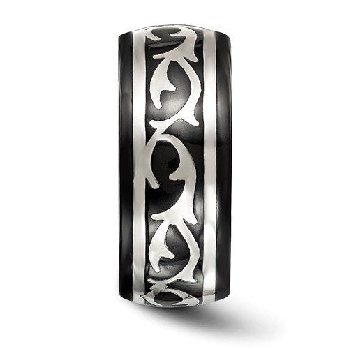 Edward Mirell Black Titanium and Sterling Silver Thorn 10mm Wedding Band
