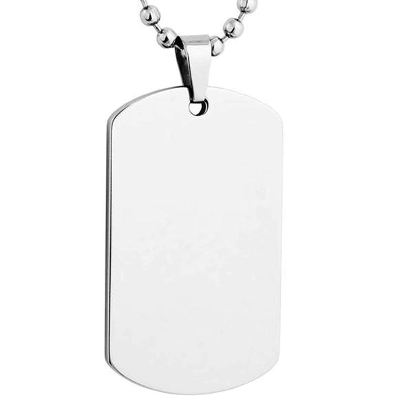 Men's Engravable Dog Tag Pendant Necklace, Stainless Steel, 24""
