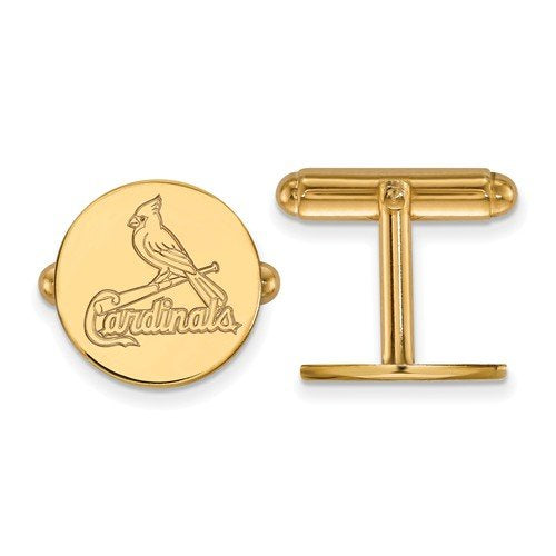 Gold-Plated Sterling Silver MLB St. Louis Cardinals Round Cuff Links, 15MM