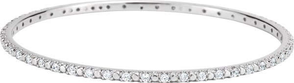 Cubic Zirconia Bangle Bracelet, Sterling Silver, 8""