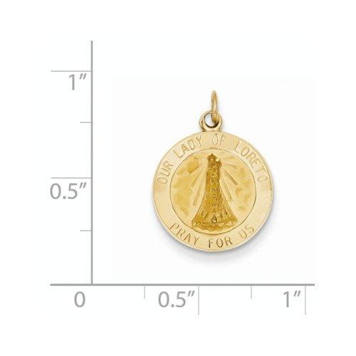 14k Yellow Gold Our Lady of Loreto Medal Charm (21X15MM)