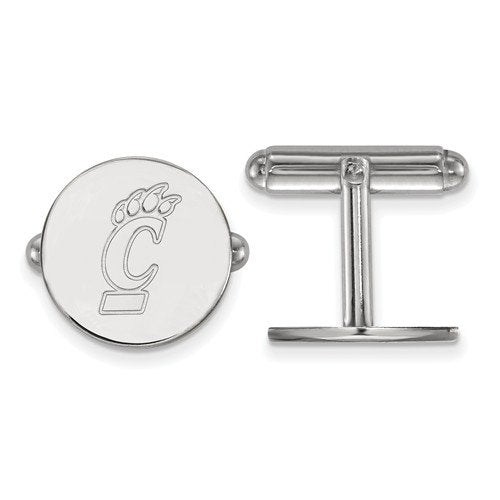 Rhodium-Plated Sterling Silver, University Of Cincinnati Cuff Links, 15MM