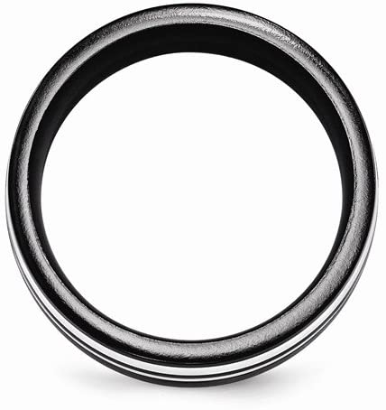 Edward Mirell Black Titanium and Sterling Silver Two-Tone Flat 9mm Wedding Band, Size 9.5