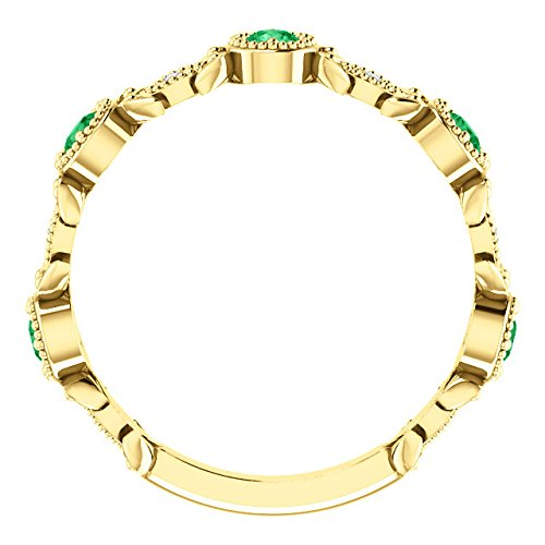 Chatham Created Emerald and Diamond Vintage-Style Ring, 14k Yellow Gold, Size 7