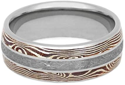The Men's Jewelry Store (Unisex Jewelry) Gibeon Meteorite, Copper and Silver Mokume Gane 8mm Titanium Comfort-Fit Wedding Band, Size 9.25