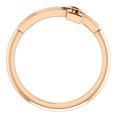 Embossed Cross 14k Rose Gold Ring, Size 9