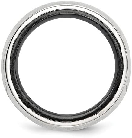 Edward Mirell Black Titanium and Sterling Silver Domed 10mm Wedding Band, Size 12.5