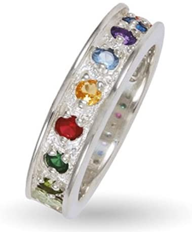 Created Ruby, Citrine, Aquamarine, Amethyst, Blue Topaz, Peridot, Emerald Sterling Silver, 12k Green Gold, 12k Pink Gold Black Hills Gold Motif, Size 8