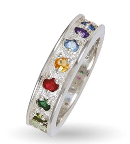 Womens Sterling Silver, 12k Green Gold, 12k Pink Gold, 7 Stones Ring, Sizes 4, 4.5, 5, 5.5, 6, 6.5, 7, 7.5, 8, 8.5, 9