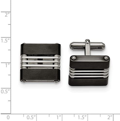 Stainless Steel, Brushed Black IP Cuff Links, 18X20MM