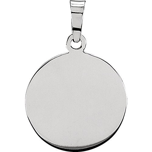 "Rhodium Plated Sterling Silver Round St. George Medal Necklace, 18"" (18.25 MM)"