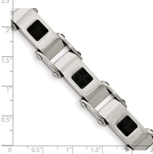 Men's Black IP Stainless Steel, Link Bracelet, 8.5 Inches
