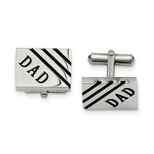 Stainless Steel Black Enamel Dad Rectangle Cuff Links, 14X20MM