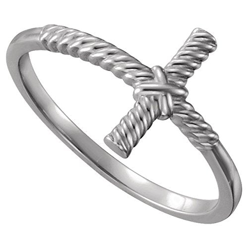 Sideways Rope Cross Continuum Sterling Silver Ring, Size 7