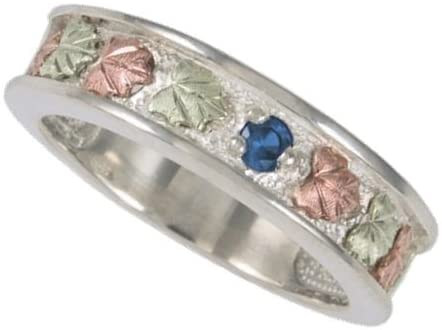 Blue Zircon Band, Sterling Silver, 12k Green Gold, 12k Pink Gold Black Hills Gold Motif, Size 8