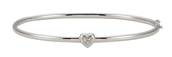 "Heart with Diamond Bangle Bracelet, 14k White Gold, 6.5"" (.03 Cttw, HI Color, I1 Clarity)"