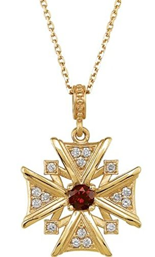 Mozambique Garnet and Diamond Vintage-Style Cross 14k Yellow Gold Necklace, 18""