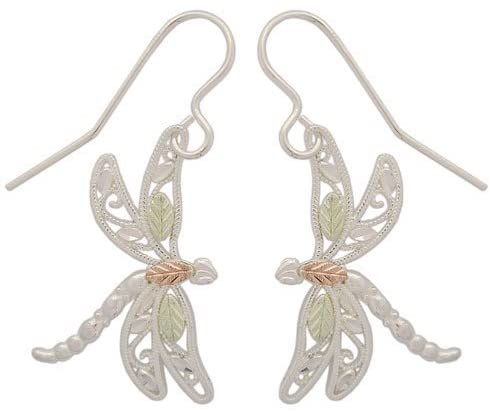 Dragonfly Earrings, Sterling Silver, 12k Green and Rose Gold Black Hills Gold Motif