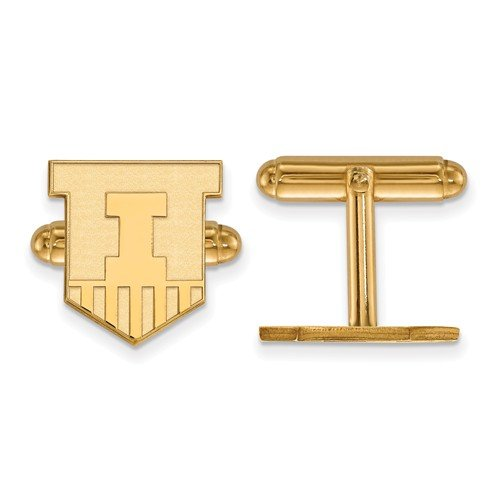 14k Yellow Gold University Of Illinois Cuff Links, 15MM