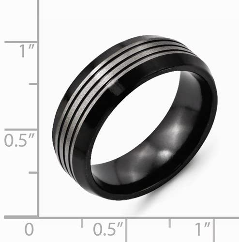 Brushed Grey Titanium, Black Ti 8mm Beveled Edge Band, Size 10.5