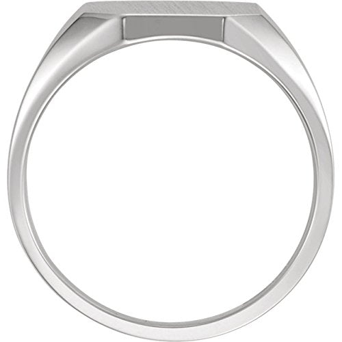 Men's Satin Brushed Signet Ring, 18kX1 White Gold (14X12MM)
