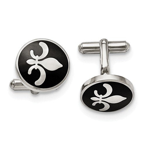 Stainless Steel Black Enamel with Fleur De Lis Round Cuff Links, 18MM