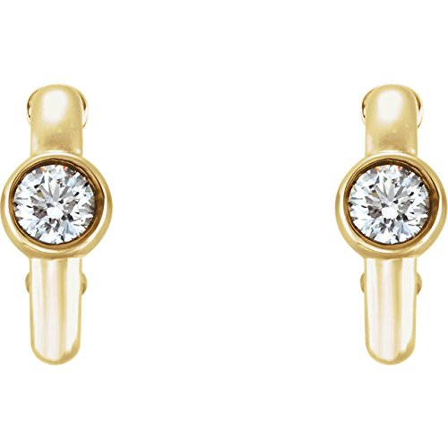 Diamond J-Hoop Earrings, 14k Yellow Gold (0.2 Ctw, G-H Color, I1 Clarity)