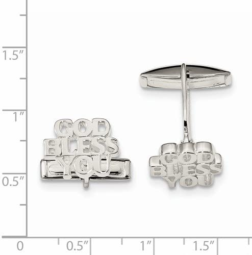 Sterling Silver 'God Bless You' Toggle Back Cuff Links, 11.3MMX14.9MM