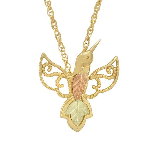Hummingbird Necklace, 10k Yellow Gold, 12k Green and Rose Gold Black Hills Gold Motif