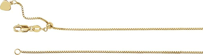1mm 14k Yellow Gold Adjustable Box Chain, 22""