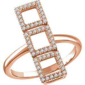 Diamond Triple Square Ring, 14k Rose Gold (1/4 Ctw, Color H+, Clarity I1), Size 7