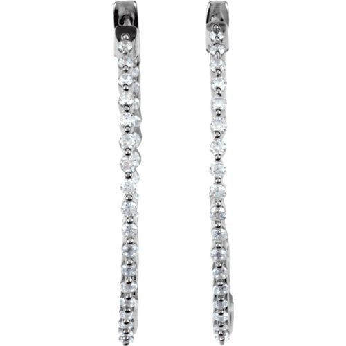CZ Hoop Earrings, Sterling Silver (38mm)