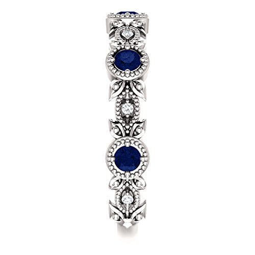 Blue Sapphire and Diamond Vintage-Style Ring, Rhodium-Plated 14k White Gold (0.03 Ctw, G-H Color, I1 Clarity)