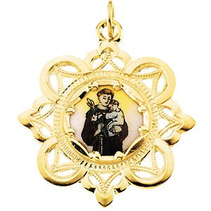 10k Yellow Gold St. Anthony Framed Enamel Pendant (25.75x25.75 MM)