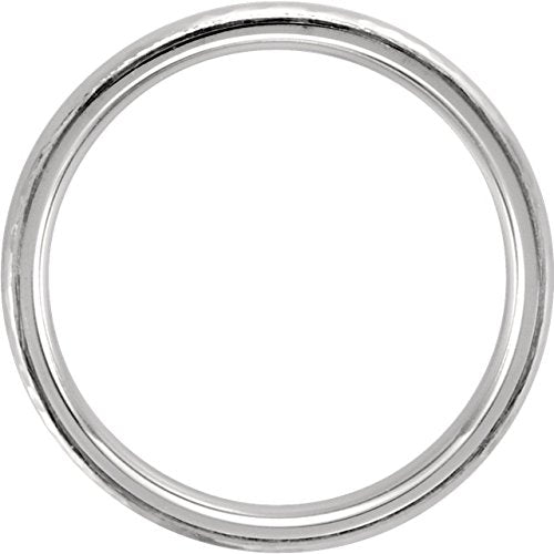 Platinum Hammer Finished 5mm Comfort Fit Dome Band, Size7