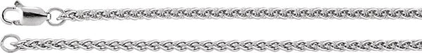 2.4mm Rhodium-Plated Sterling Silver Wheat Chain, 16""