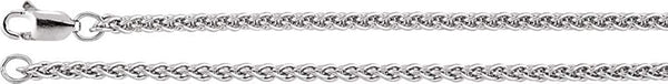 2.4mm 14k White Gold Wheat Chain, 16""