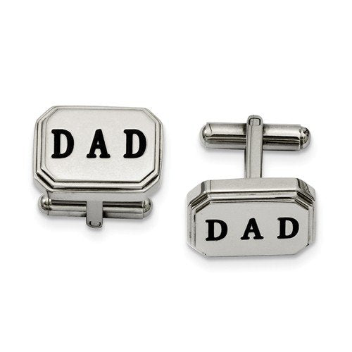 Stainless Steel Black Enamel Dad Octagon Cuff Links, 12X18MM