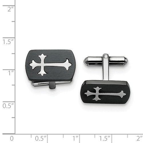 Black IP-Plated Stainless Steel Brushed satin Cross Rectangle Cuff Links, 12X20MM