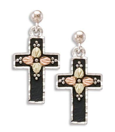 Antiqued Cross Earrings, Sterling Silver, 12k Green and Rose Gold Black Hills Gold Motif