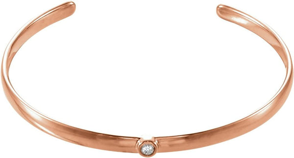 "Diamond Cuff Bracelet, 14k Rose Gold, 8"" (0.1 Ctw, G-H Color, I1 Clarity)"