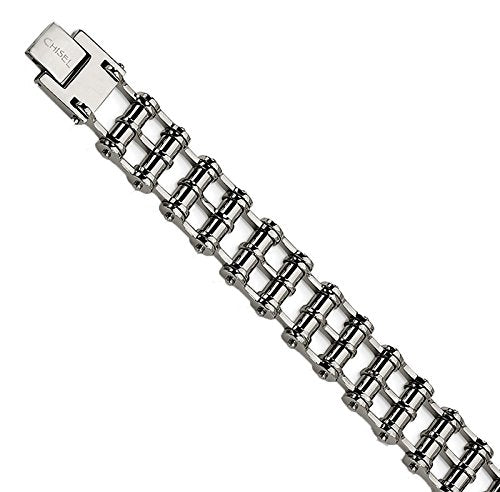 Men's Polished Stainless Steel 14mm Roller Bracelet, 8.5""