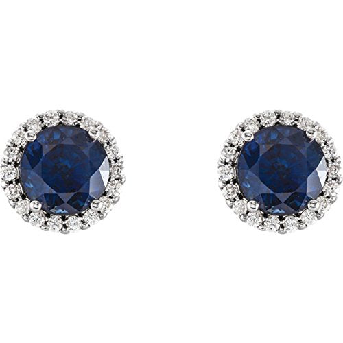 Blue Sapphire and Diamond Earrings, Rhodium-Plated 14k White Gold (0.16 Ctw, G-H Color, I1 Clarity)