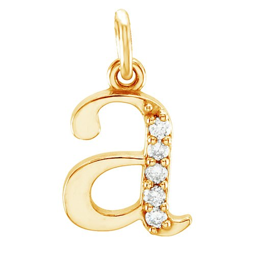Petite Diamond Initial 'a' Lowercase Alphabet Letter 14k Yellow Gold Pendant (.03 Cttw IJ Color, SI1 Clarity)