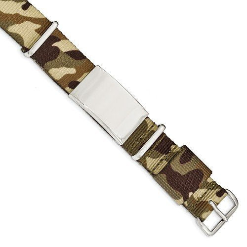 Men's Polished Stainless Steel Brown Camo Fabric Adjustable ID Bracelet, 10""