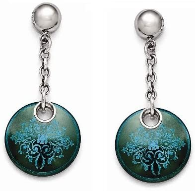 Rain Collection Black Ti, Sterling Silver Anodized Teal Dangle Earrings