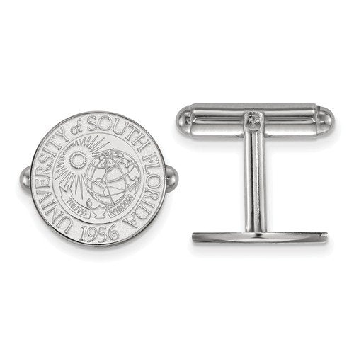 Rhodium-Plated Sterling Silver, University of South Florida Crest, Cuff Links, 15MM