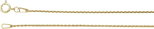 .85mm 14k Yellow Gold Baby Wheat Chain, 16""