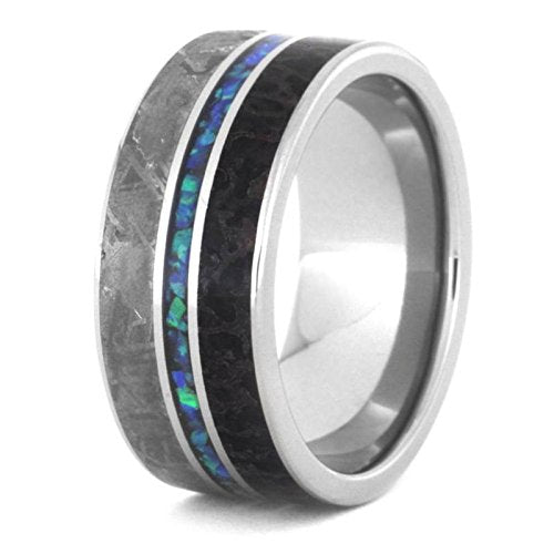 Crushed Synthetic Opal, Gibeon Meteorite, Dinosaur Bone 9.5mm Titanium Comfort-Fit Wedding Band